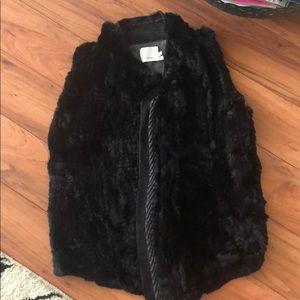 Vince black rabbit fur vest with knitted back